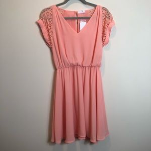 Lush Peach Lace Sleeve Dress